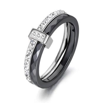 AENINE Fashion Black/White Ceramic Crystal Wedding Rings Jewelry For Women Girls Rose Gold Stainless Steel Bohemia Ring AR18054