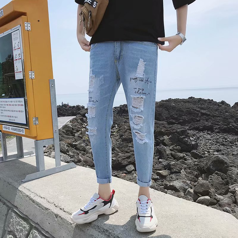 Hong Kong Style Korean-style Loose-Fit With Holes Denim (Ankle-length Pants) Men Versatile Skinny Casual Pants Summer Thin Secti