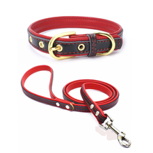 Dog Collar and Leash Set PU Leather Solid Soft Colorful Pet Cat For Small Medium Large Dogs Puppy Kitten
