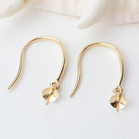 18K Gold Earring Hooks with Eyepin Bead Caps, Yellow Karat Gold Solid 18ct oro French Earwire Dangle Pearl Earrings