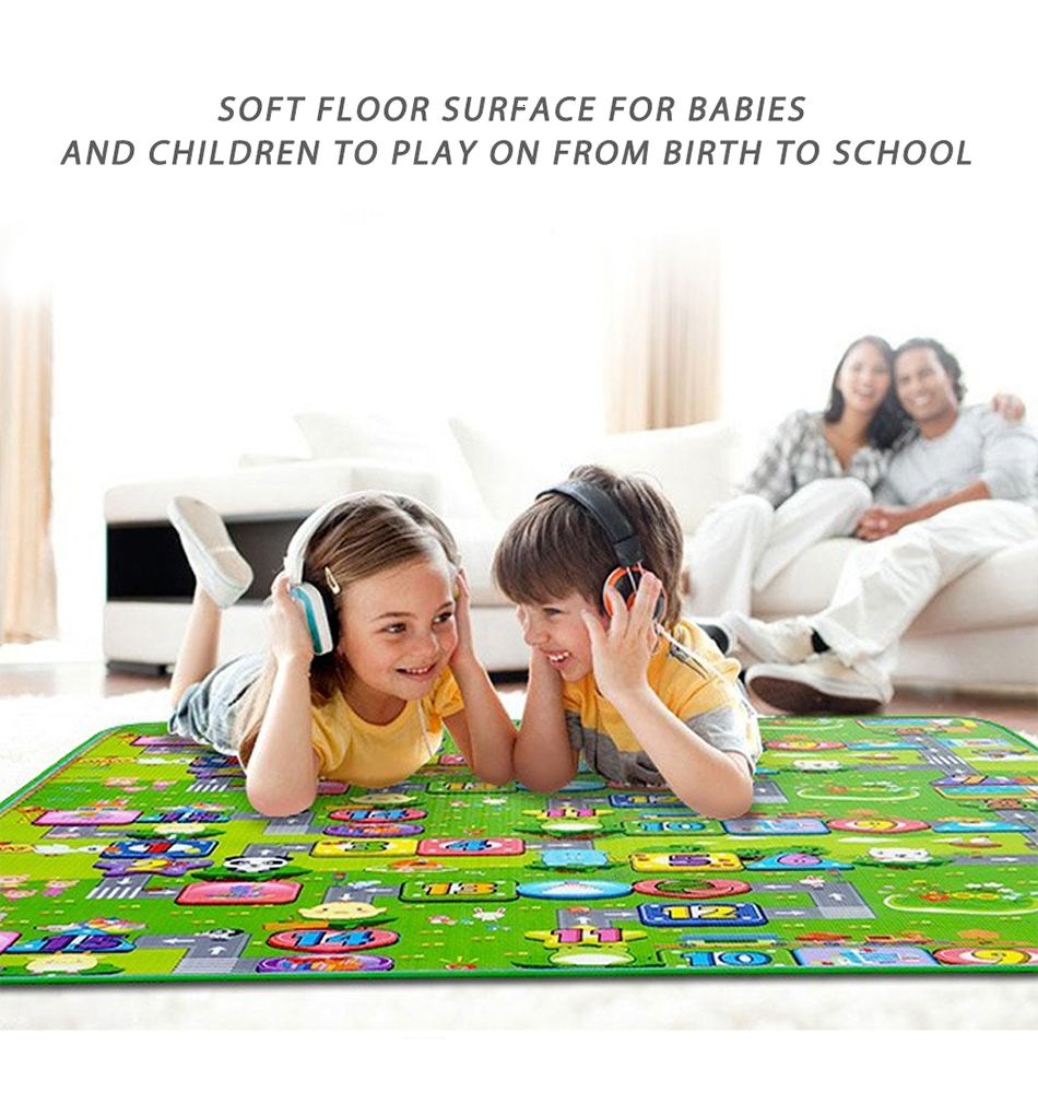 H45621ca7ef9149fe8f3b6587e57d4e49P Baby Play Mat 0.5cm Thick Foldable Crawling Mat Double Surface Baby Carpet Rug Cartoon Developing Mat for Children Game Playmat