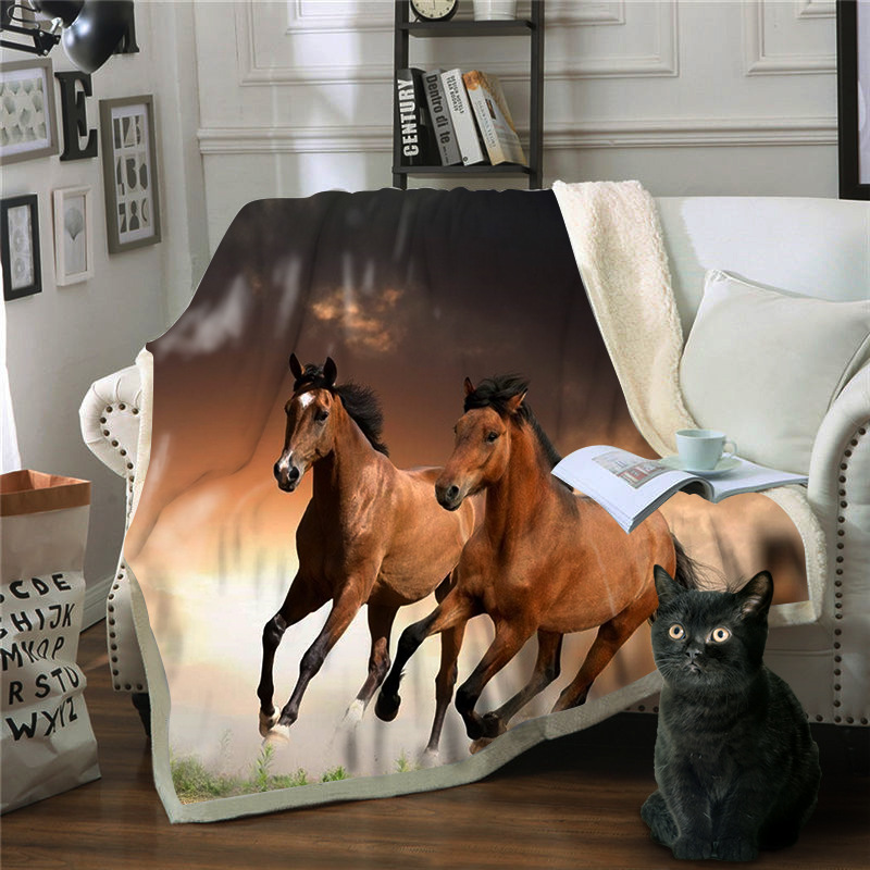 Black Running Horse 3d Fleece Blanket 2 Plies Warm Keeping Throw Blanket