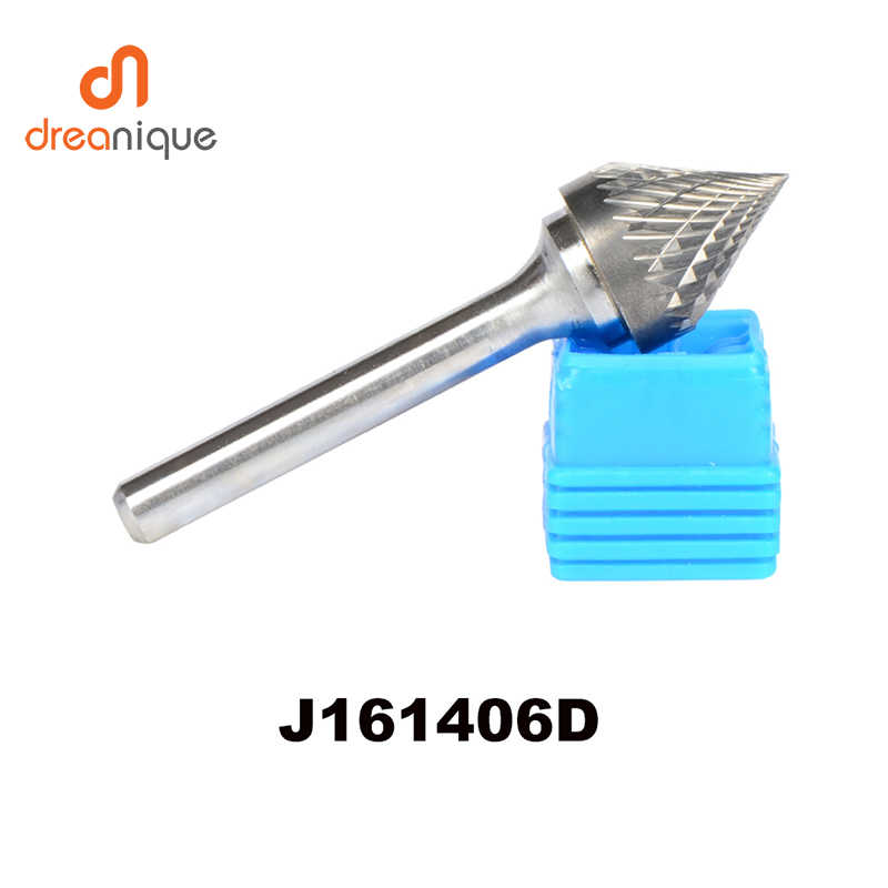 J// 60° Cone Tungsten Steel Solid Carbide Burrs Rotary Tools Metal Carving 6MM
