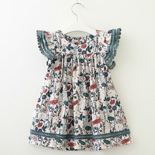 Girl Dress Floral Dress Elegant Flying Sleeve Summer Kid Beach Dress Children Clothing Kids Clothes Party Dresses 40 girl dresses new surprise cartoon pattern flying sleeve big eye doll children s dress
