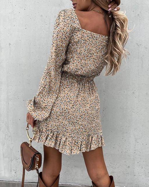 Spring Fashion Women's Long Sleeve Mini Dresses Square Collar and Elastic Waist Ruffle Flora Print Sweet Style Party Dress 2021 3