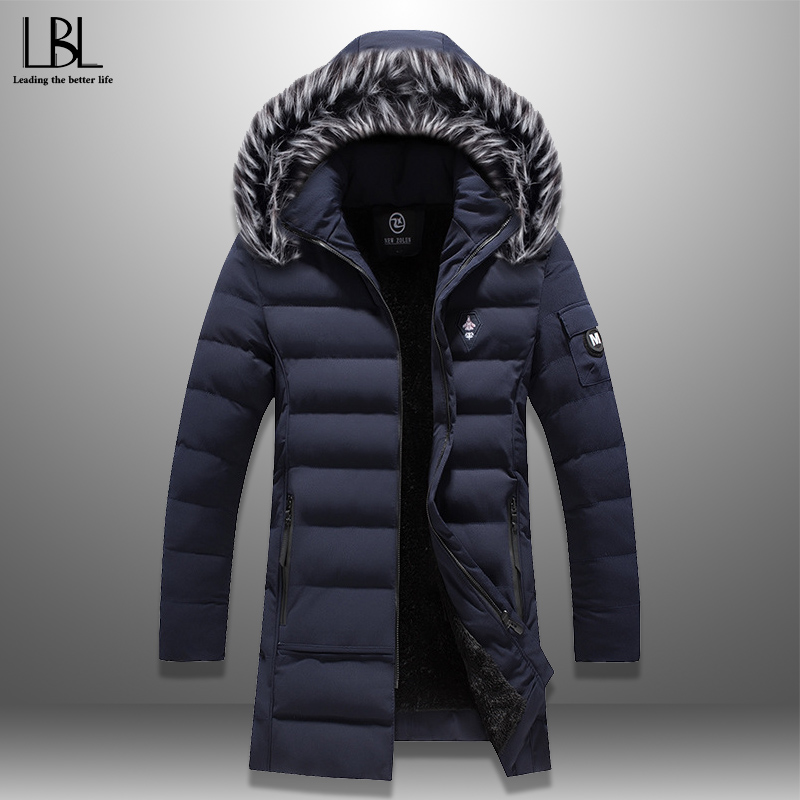 2019 New Winter Wadded Jacket Men's Hooded Parka Casual Solid Cotton-Padded Coat Fur Collar Outerwear Hat Detachable Winterjas