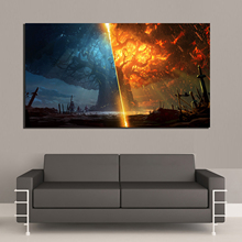 Modular Canvas Paintings Prints Art Poster Teldrassil Burning World of Warcraft Battle For Azeroth Game Wall Pictures Home Decor