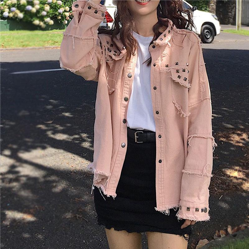 Retro Beaded Women Denim Jacket Korean Punk Plus Size Denim Coat Ladies Harajuku Casual Vogue Cardigan Cotton Outwear Spring Top