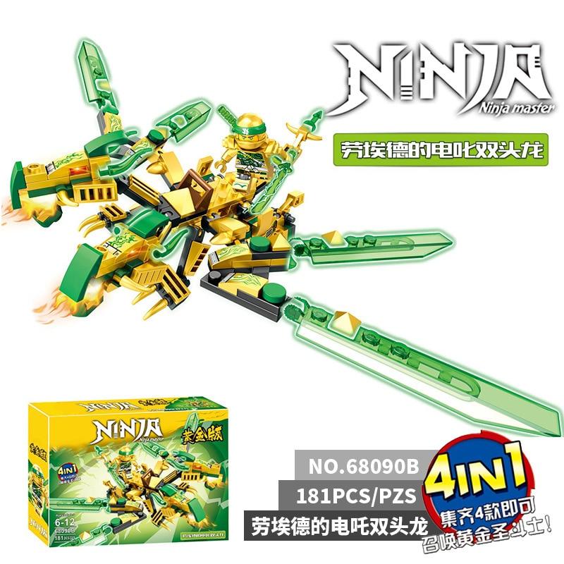 Ninjago Blocks 4in1 Ninja Dragon Blocks Mech Buiding Bricks KAI JAY Figures