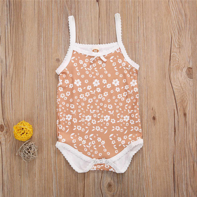 0-24M Summer Baby Girls Rompers 신생아 유아 소녀 민소매 꽃 프린트 Rompers 점프 슈트 One-piece Kids Clothing Outfits