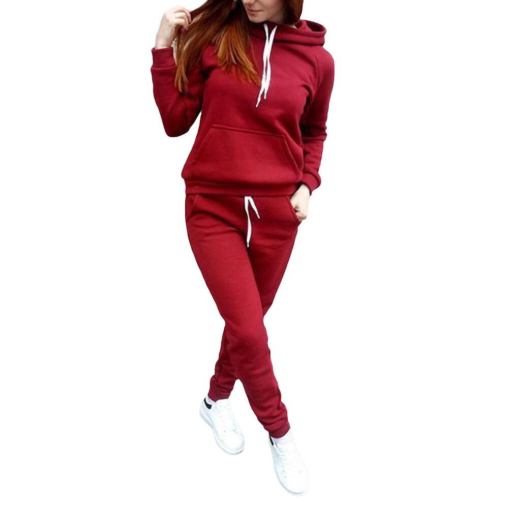 Autumn Winter Tracksuit Womens Long Sleeve Thicken Hooded Sweatshirts 2 Piece Set Casual Sport Women Tracksuit Set Sportswear