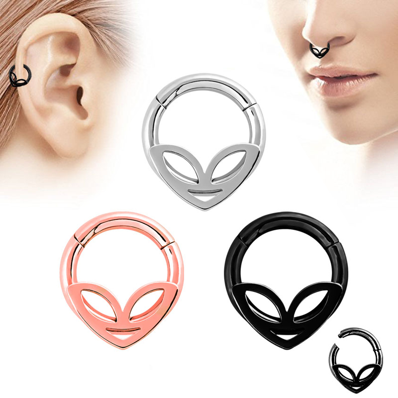 1pc 6 Styles Double Layers Steel Clicker Segment Nose Hoop Rings
