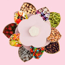 Flower Petals Shape Rotating Candy Box Plastic Fruit Plate Divided Snack Bowl Home Nuts Storage Serving Tray Mobile Phone Holder