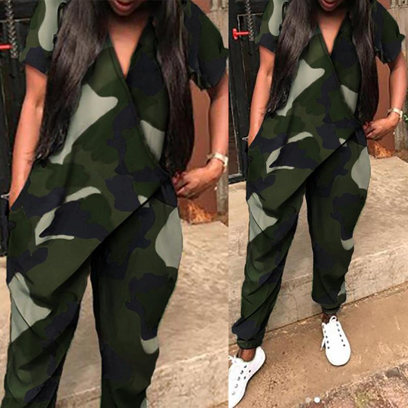Summer Casual Rompers ZANZEA Women Camouflage Overalls Fashion V Neck Short Sleeve Pockets Long Jumpsuits Female Harem Pants
