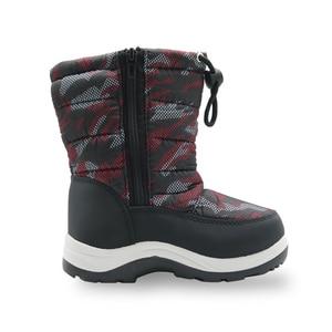 Image 4 - Детские Нескользящие камуфляжные ботинки для альпинизма для маленьких мальчиков и малышей теплые плюшевые зимние ботинки до середины икры