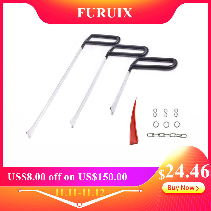 PDR Tools Paintless Dent Removal Tools PDR Fish Tail Style Rods With S Hook Kits For Door Dings Hail Easy To Operate Repair Set