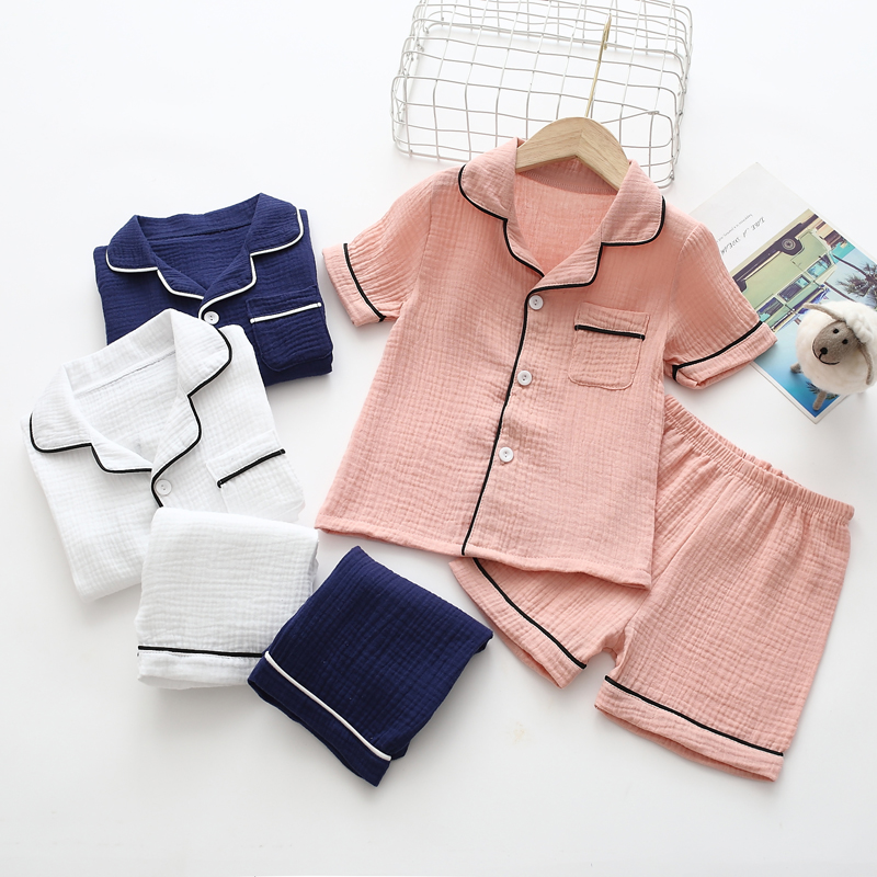 100% cotton Baby summer pajamas two-pc set kids short suit double layers wrinkle muslin solid color soft/breathable home wear image