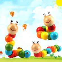 Colorful Wooden Worm Puzzle Kids Early Learning Educational Toy Finger Game Puzzles Games Interactive toys early efl vocabulary learning impact of games