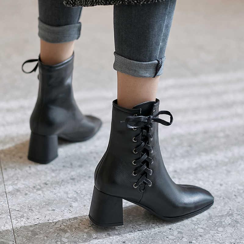 ผู้หญิง Martin รองเท้าของแท้หนังสบายๆภายในรองเท้าหนังนิ่มฤดูหนาวรองเท้าส้นสูงรองเท้า Lace Up รองเท้าข้อเท้า