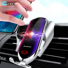 Беспроводное зарядное устройство QI, автомобильный держатель с автоматическим зажимом 10 Вт, быстрая зарядка, держатель для телефона с венти...