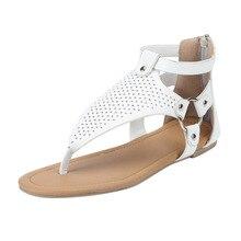 Rome toe strap novelty mature cross buckle ladies sandals hollow low side breathable slip flat sandals zipper size shoes 35-43 cross strap back zipper sandals