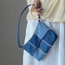 Moda feminina sacos de ombro denim baguette saco quailty grosso bolsas de ombro e bolsa feminina sacos de embreagem senhoras saco axila