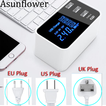 Asunflower USB Charger Wall Adapter Quick Charge 3.0 With Display 4 Port US Plug For Cellphone Smartphone Table
