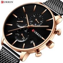 남성 시계 CURREN 패션 쿼츠 손목 시계 남성용 클래식 크로노 그래프 시계 캐주얼 스포츠 시계 방수 Relogio Homem