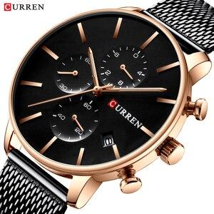Image 1 - Mens Watches CURREN Fashion Quartz Wristwatch for Men Classic Chronograph Clock Casual Sport  Watch Waterproof Relogio Homem