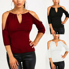 Sexy Women Loose Casual Black Blouse Shirt Tops Elegant Ladies