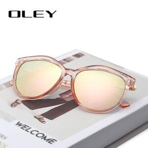Image 2 - OLEY العلامة التجارية جولة النظارات الشمسية النساء الاستقطاب أزياء السيدات نظارات شمسية الإناث خمر ظلال Oculos دي سول Feminino UV400 Y7405