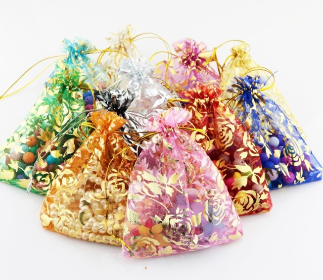 100pcs/Lots Mesh Sheer Organza Gift Bag Yarn Mesh Gift Pouches For Wedding Christmas Party Favor Drawstring Candy Boxes