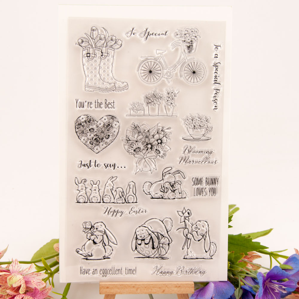 <font><b>12x20</b></font> Turtle and rabbit Transparent Clear Stamps Silicone Seals for DIY scrapbooking photo album Card Making image