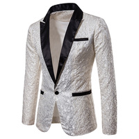 Gold Jacquard Bronzing Floral Blazer Men New Mens Patchwork One Button Blazer Jacket Party Stage Singer Costume Homme