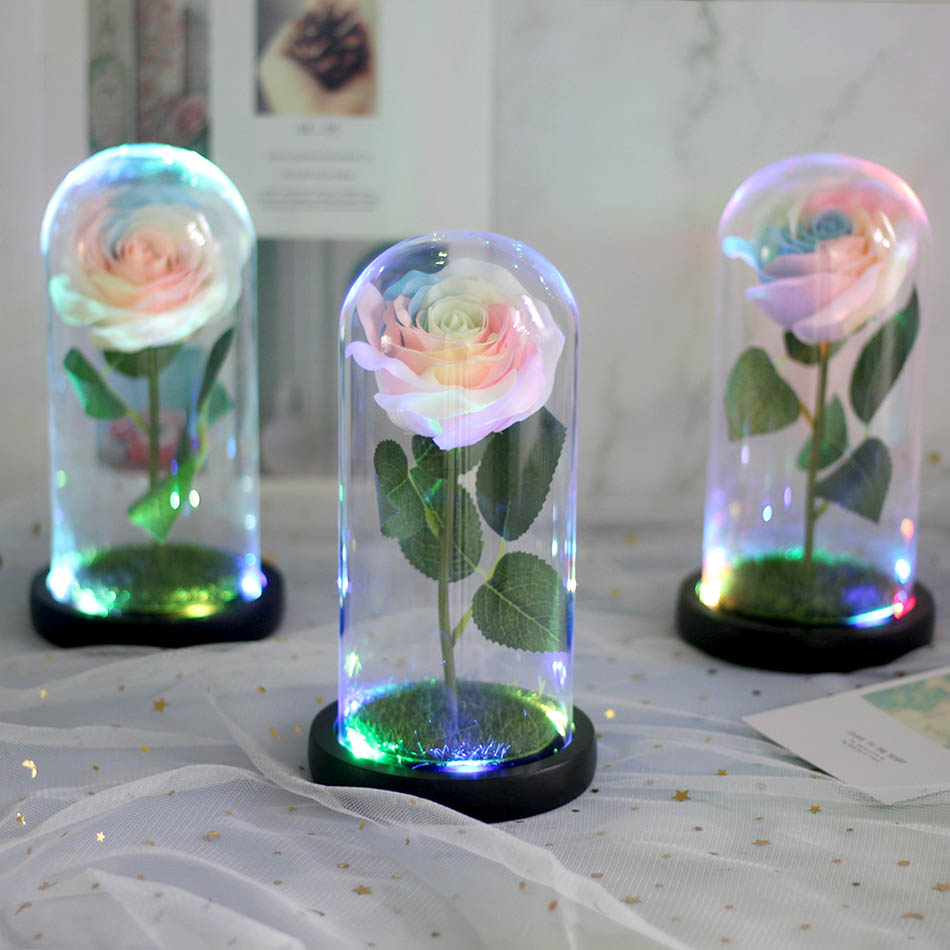 The Rose Beautiful-And-The-Beast Gift Valentine's-Day. Is Glass Dome for Led-Lamp Imitates