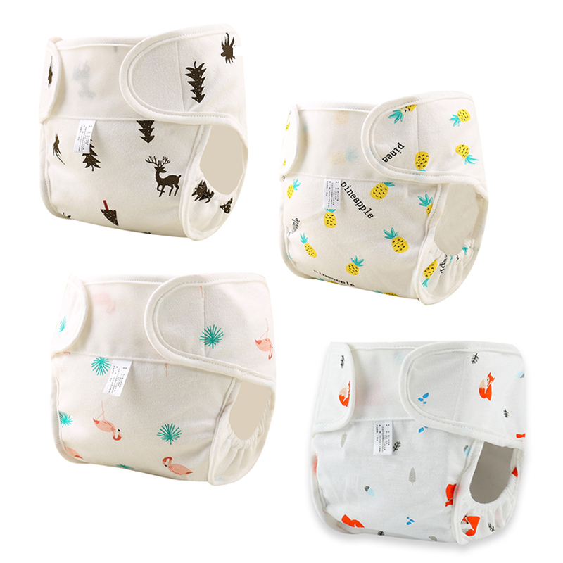 Print Cotton Baby Diapers Newborn Baby Reusable Cloth Diaper Nappies Washable Infant Diaper Pocket Cover Panties Nappy Changing