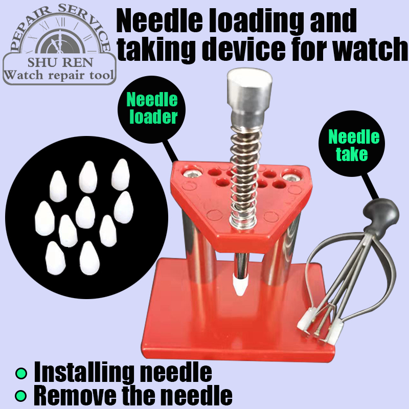 Free shipping,Watch tools, watch needle picker, watch pointer mounter +10 molds, punch repair tools, hand needle press