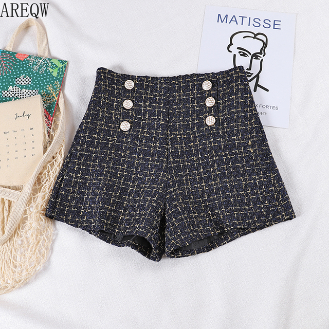 2021 New Spring Autumn Clothes Women Tweed Shorts Retro High Waist Women Black Shorts 6