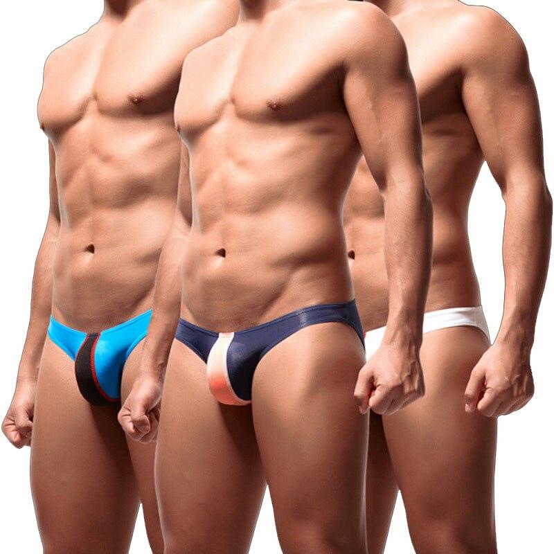 2019 Fashion Underwear Ice Silk Men Underwear Lingerie Briefs Sexy Low Waist Male Panties Patchwork Gay Underpants