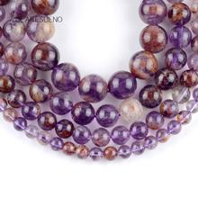 Natural Purple Ghost Minerals Stone Round Loose Beads For Jewelry Making 6-12mm Spacer Fit Diy Bracelets Necklace 15