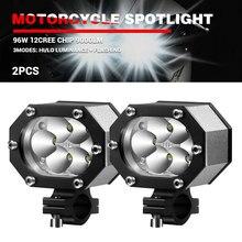 DERI-foco de luz LED para motocicleta, faro delantero para moto, ATV, todoterreno, 12V, 96W