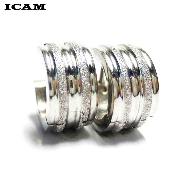 ICAM Punk Style Stainless Steel Circle Hoop Earrings for Women and Men Simple Fashion Jewelry Wholesale