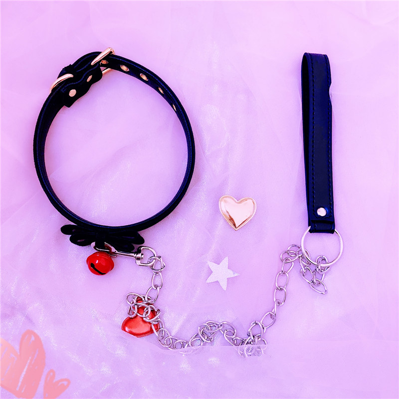 Image 2 - Sexy Rivet Alternative Metal PU Leather Collar Lead Chain Bell Choker Slave Costume ,BDSM Bondage Necklace Neckband Sex Toys    -