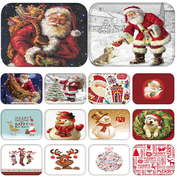 Mat in Hallway Kitchen Rubber Doormat Merry Christmas Santa Claus Home Decor Living Room Rug Anti-Slip Dustproof Carpet 48236 image