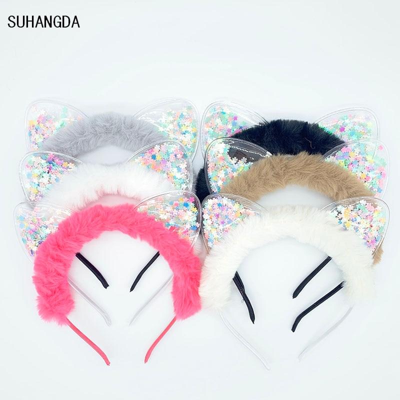 New Girls Cute Colorful Sequin Plush Cat Ears Headbands Children Sweet Cat Ears Hair Band Kids Hair Accessories Scrunchie