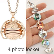 Wholesale Hot sale Jewelry Vintage Magic multi layer Angel Wings 4 Photos Frame Ball Pendant Memory Fold Open Locket Necklace(China)