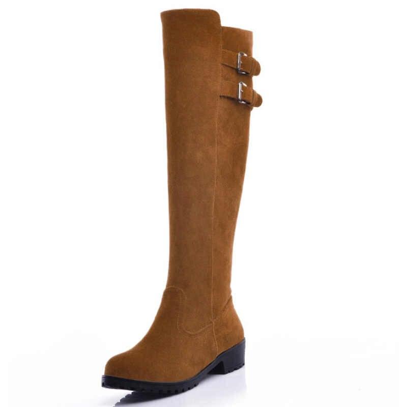 Süet Deri Kadın Botları Diz Yüksek çizmeler kadın ayakkabıları Uyluk Yüksek Çizmeler Moda Lüks Kış Kadın Patik Yuvarlak Ayak Uzun Çizmeler