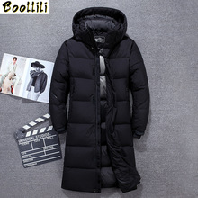 Long Down Jacket Men Top Quality Thick Winter 2020 NEW Hat Detached Warm Parka Waterproof Windproof -30 degrees cheap REGULAR 61916 Casual zipper Full PATTERN Pockets Wave Cut Zippers Thick (Winter) Broadcloth Acetate Polyester White duck down