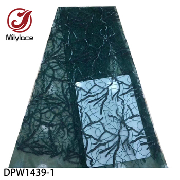 Green African Embroidered Tulle Lace Fabric with Sequins High Quality Nigerian French Mesh Lace for Wedding Party Dress DPW1439