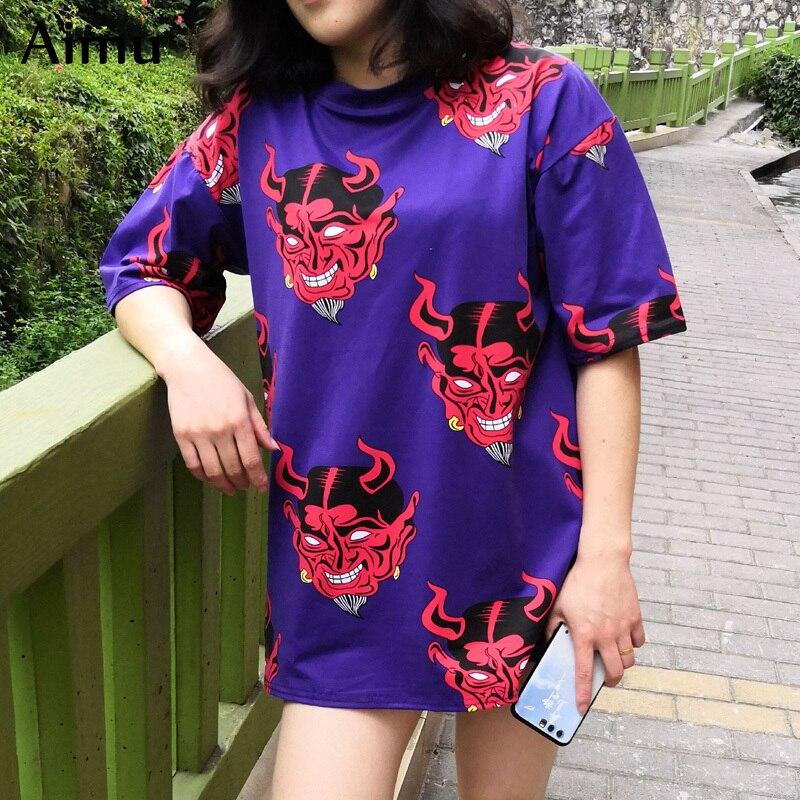 Summer Women Cartoon Print T Shirt Casual Boyfriend Tshirt Harajuku Oversized Graphic Funny Female T-Shirts Streetwear White Top